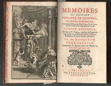 Mémoires de Messire Philippe de Comines.Godefroy.1723.Complet 5 vol.+supplément
