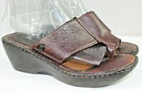 BORN womens wedge slides sandals size 8 m leather upper brown great condition