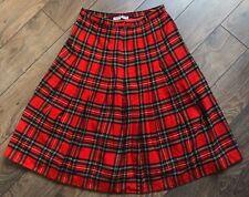 Burberry Vintage Skirt Wool Tartan Scottish Nova Check Plaid Red Long 12