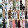 Summer Womens Boho Holiday Strappy Floral Maxi Beach Sundress Party Long Dresses