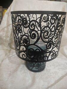 Yankee Candle Large Black Metal Scroll Shade and Black Scroll Jar Holder - EUC