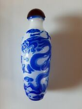 More details for chinese peking glass snuff bottle blue dragon overlay