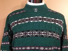 Peter Werth Sweater Green w Multi Color Patterned Stripes Wool Acrylic sz L  UK