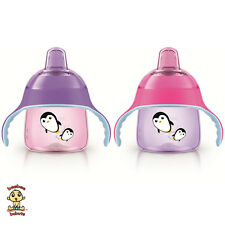 Avent Penguin Sippy Cup / Spout Cup, 7 oz, 6m+, Pink & Purple, 2 Pack, BPA Free