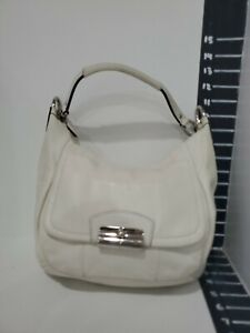 Coach womens white leather med sized handbag