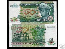 ZAIRE CONGO DR.50 ZAIRES P32 1988 *BUNDLE* FISH LEOPARD MOBUTU UNC 100 BILL NOTE