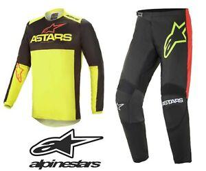 ALPINESTARS ADULT 2021 Fluid Tripple Black/Yellow/Red Motocross Jersey/Pants