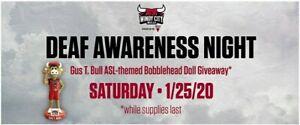 Windy City Bulls ASL American Sign Language Gust T. Bull Mascot Bobblehead