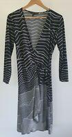 BCBGMAXAZRIA Womens Size L Casual Black Striped 3/4 Sleeve Stretch Wrap Dress