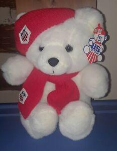 Vintage 1986 US Ski Team Winter Olympic Games Plush Bear USA White Commonwealth