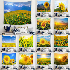 Sunflower Floral Scenery Tapestry Wall Hanging Trippy Tapestries Home Art Decor
