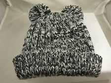 black grey white pom poms hat beanie cap hat winter garb very cute