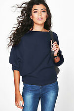 UK Women Loose Knitted Batwing Sleeve Jumper Sweater Ladies Casual Knitwear Tops