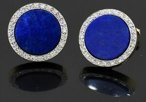 Heavy 18K yellow gold 0.72CT VS2/F diamond & 14.5mm lapis lazuli cuff links