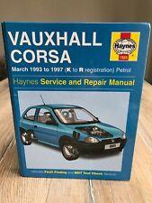 VAUXHALL CORSA MARCH 1993-1997 K TO R REG PETROL HAYNES WORKSHOP MANUAL