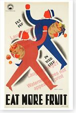 Eat More Fruit Put Pep In Your Step Victorian Railways Retro Advertising Poster