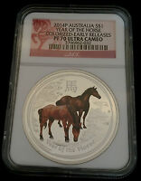 Australia 2014 P Silver Horse Early Releases NGC Proof-70 UC Colorized PF 70
