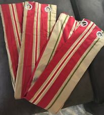 WOOLRICH MULTI RED TAN TAUPE STRIPE (PAIR) LINED CURTAINS PANELS DRAPERY 42 X 62