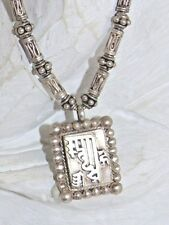 VTG Sterling 925 Silver Fine Chinese Writing Pendant Snake Chain Relief Necklace