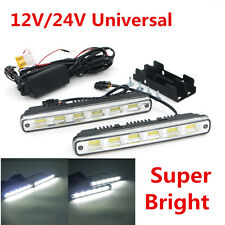 2Pcs White DC 12V/24V COB LED Daytime Running Light Car DRL Fog Lamp w/ Bracket