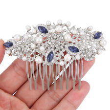 Wedding Flower Blue Austrian Crystal Pearl Bridal Hair Comb Accessories Party