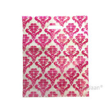 """100 Damask Pink Plastic Carrier Bags 10""""x12""""+4"""" Gift Party Carry Patch Handle"""