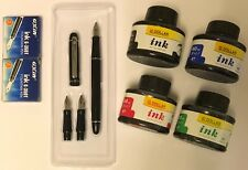 BLACK BARREL CALLIGRAPHY FOUNTAIN PEN SET 3 NIBS, 4 INK BOTTLE & 12  CARTRIDGES