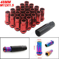 M12X1.5 Car Wheel Racing Lug Nuts V48 Steel Acorn Rim Extended Open End New RED