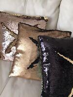 Magic Colours GOLD 16 Pillow Case Reversible Sequin Glitter Sofa Cushion Cover