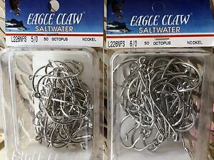 50 count EAGLE CLAW SALTWATER L226NFS 5/0 OR 6/0 OCTOPUS NICKEL USA MADE