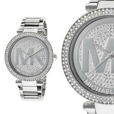 Michael Kors Damen Uhr MK5925 Parker Silber Strass MK Logo Armband
