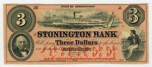 1800's $3 The Stonington Bank - CONNECTICUT Note w/ SHIPS AU