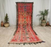 "Moroccan Handmade Vintage Carpet 3'6""x8'2"" Faded Red Geometric Berber Wool Rug"