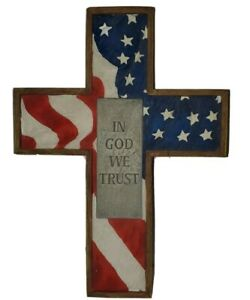 "Cross By New Creative Red White & Blue In God We Trust 7"" X 10"" Ceramic Plastic"