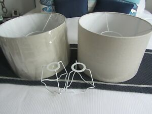 PAIR OF BESPOKE LAMPSHADES 35 CMS DIAMETER 25 CMS HIGH WITH DUPLEX RING FITTING
