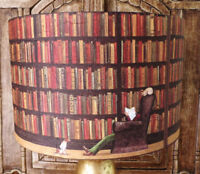 Old Library lamp shade,lampshade decoupage cat and dog  Free Gift