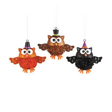 Orn70256 Set/3 Pom Pom Owl w/Hat Halloween Ornament Party Decoration Hoot Bird