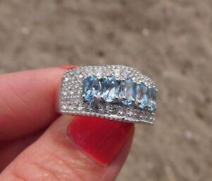 SANTA MARIA Aquamarine & Cambodian Zircon RING Platinum/Silver Size 6 TGW 1.85