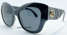 New Authentic Gucci  GG0808S-001 Black Grey Lenses Sunglasses 53 mm