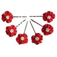 6 épingles pinces plates cheveux mariage fleur satin rouge perles nacrées blanc