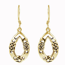 Knot Binds Oval Dangle Earrings 14K Yellow Gold Over Sterling Silver 925