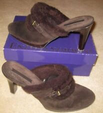 """*Enzo Angiolini*Brown Suede/Leather Shearing Cushion Foot Bed 4"""" Heel *SZ 8.5"""
