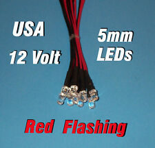 10 FLASHING LEDS 5mm PRE WIRED 12 VOLT RED BLINK 12V FLASH PREWIRED