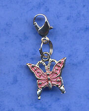 """BEAUTIFUL """"BUTTERFLY"""" CLIP ON DANGLE CHARM, TIBETAN SILVER CLIP ON CHARM PINK"""