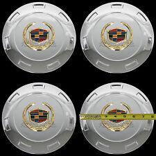 """4 CHROME & GOLD ESCALADE 22"""" Wheel Center Hub Caps 6 Lug Hubs Cover Rim Package"""
