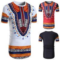 Summer Mens' 3D African Printed Casual T-Shirts Short Sleeve Dashiki Shirts Tops