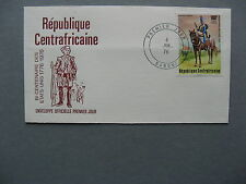 CAR CENTRAL AFRICAN REPUBLIC, cover FDC 1976,  200 years USA  bicentennial horse
