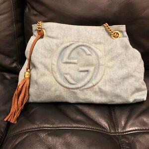 GUCCI SOHO Denim Shoulder Tote Bag GG Marmont Tassel Charm Women's From Japan
