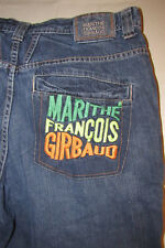 Mens Sz 38 Marithe Francois Girbaud Denim Blue Jean Shorts Hip Hop Embroidered