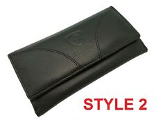 LADIES DESIGNER GENUINE SOFT BLACK REAL LEATHER WALLET CREDIT CARD HOLDER PURSE